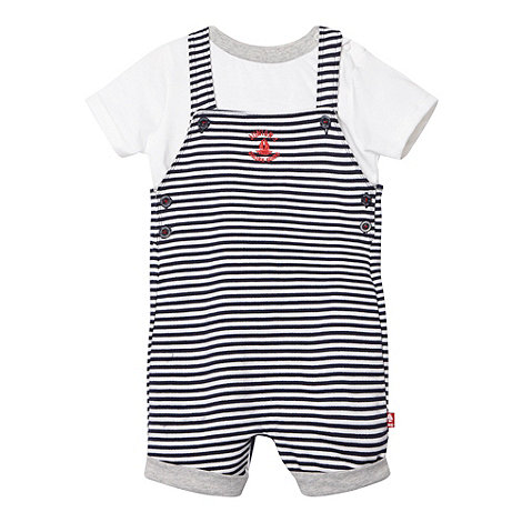 J by Jasper Conran - Designer babies navy striped dungarees and t-shirt set