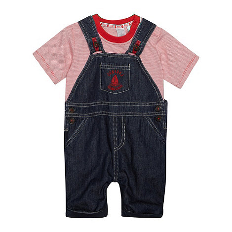 J by Jasper Conran - Designer babies navy dungaree and top set