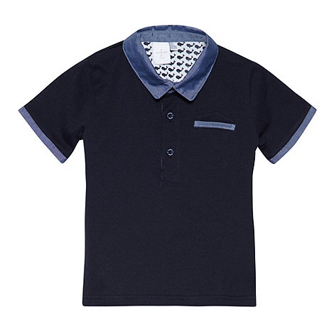 J by Jasper Conran - Designer babies navy chambray collar polo shirt