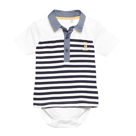 J by Jasper Conran - Designer babies navy 2-in-1 striped polo shirt and bodysuit