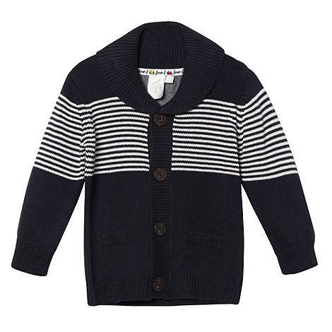 J by Jasper Conran - Babies navy striped shawl collar cardigan