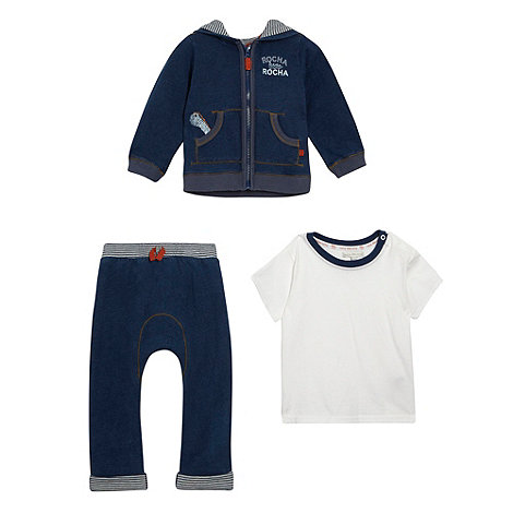 RJR.John Rocha - Designer babies navy sweat hoodie jogging bottoms and t-shirt set