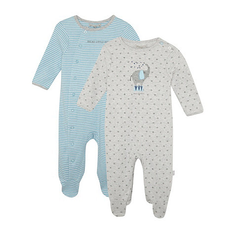 RJR.John Rocha - Pack of two designer babies blue and grey elephant sleepsuits