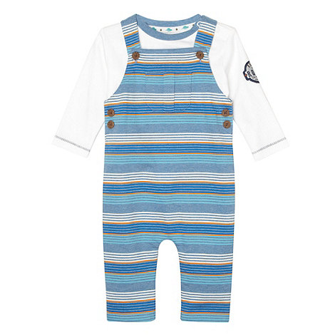 RJR.John Rocha - Designer babies blue striped dungarees and top set
