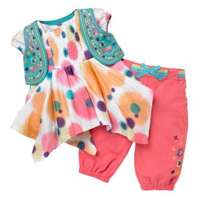 Multi coloured tie-dye printed blouse set