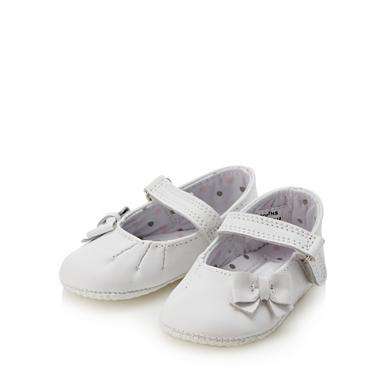 Babies white leather bow booties