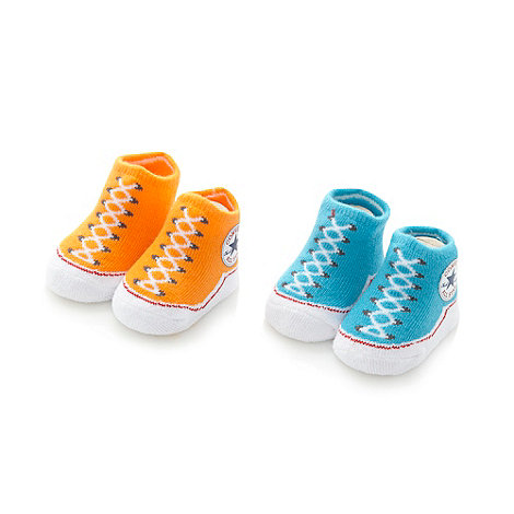 Converse - Babies pack of two bright blue and orange trainer booties