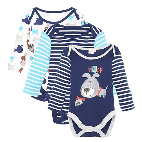 bluezoo - Babies pack of three navy Rufus the dog bodysuit