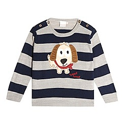 bluezoo - Babies navy striped applique dog jumper