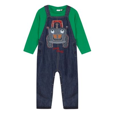 bluezoo Babies blue applique tractor dungarees and top set - . -