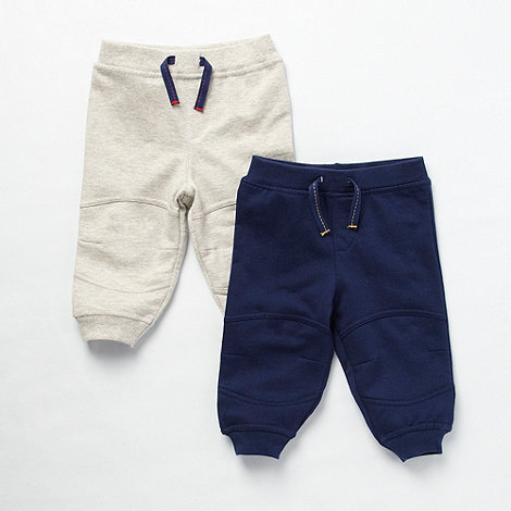 bluezoo - Babies pack of two navy and grey jogging bottoms