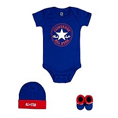 Converse - Babies blue 'Chuck Taylor' bodysuit, cap and booties set