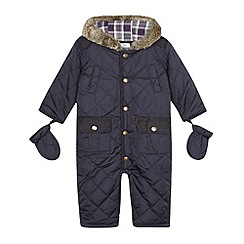 J by Jasper Conran - Designer babies navy quilted snowsuit with mittens