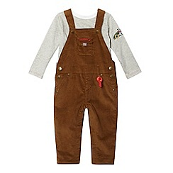 J by Jasper Conran - Designer babies brown cord dungarees and top set