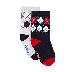 J by Jasper Conran - Designer pack of two babies navy argyle socks