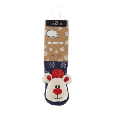 bluezoo Babies blue Rudolph Christmas bobble socks - . -
