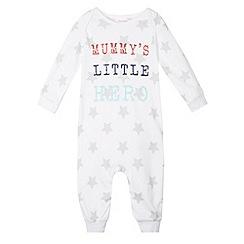 bluezoo - Babies white 'Mummy's Little Hero' sleepsuit