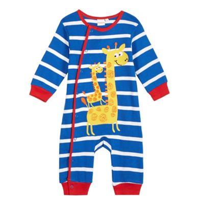 bluezoo Babies blue applique giraffes sleepsuit - . -