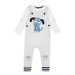 bluezoo - Babies grey applique dog dungaree set