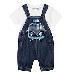 bluezoo - Babies blue denim dungarees and t-shirt set
