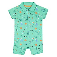 bluezoo - Babies green under the sea printed romper suit