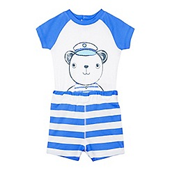 bluezoo - Babies blue bear print bodysuit and shorts set