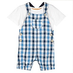 bluezoo - Babies blue seersucker checked dungarees and t-shirt set