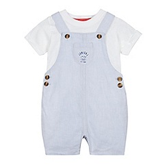 J by Jasper Conran - Designer babies light blue dungarees and t-shirt set