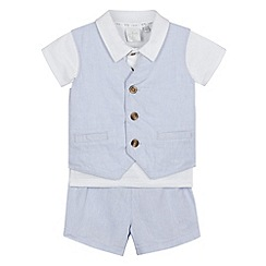 J by Jasper Conran - Designer babies light blue waistcoat, shorts and polo shirt set