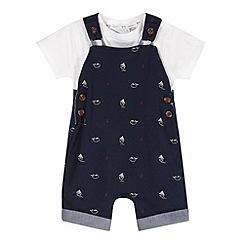 J by Jasper Conran - Designer babies navy boat print bibshorts set