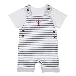 J by Jasper Conran - Designer babies white striped short dungarees and t-shirt set