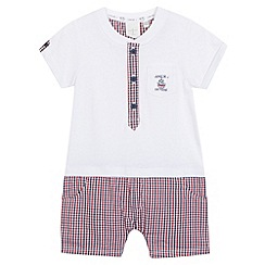 J by Jasper Conran - Designer babies white checked all in one
