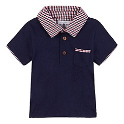 J by Jasper Conran - Designer babies navy gingham collar polo shirt