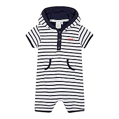 J by Jasper Conran - Designer babies navy striped towelling romper suit