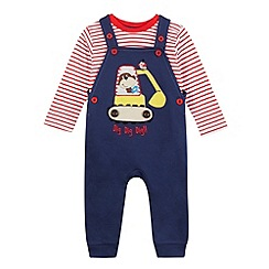 bluezoo - Babies navy digger dungarees and top set