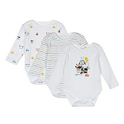 bluezoo - Pack of three babies white farm printed bodysuits