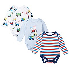 bluezoo - Pack of three babies blue tractor bodysuits