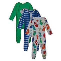 bluezoo - Pack of three babies grey dino sleepsuits