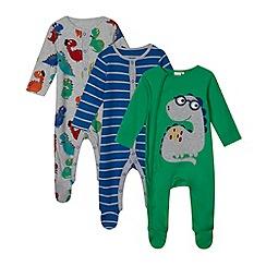 bluezoo - Set of three babies blue dinosaur striped sleepsuits