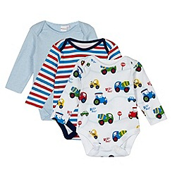bluezoo - Set of three babies white tractor sleepsuits