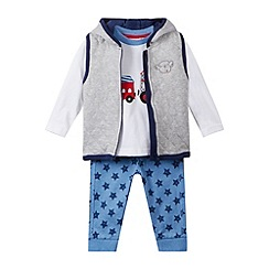bluezoo - Boys' grey quilted gilet, t-shirt and jogging bottoms set