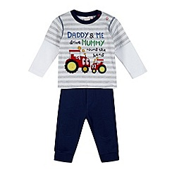 bluezoo - Babies grey striped tractor top and bottoms set