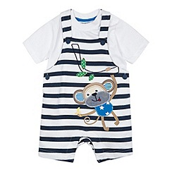 bluezoo - Babies navy striped applique monkey dungarees and t-shirt set