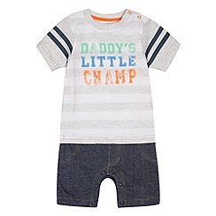 bluezoo - Babies grey 'Daddy's Little Champ' romper suit