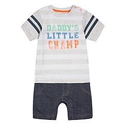 bluezoo - Babies grey 'Daddy's Little Champ' romper suit