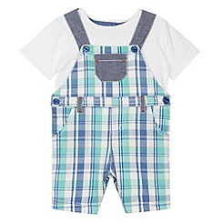 bluezoo - Babies green checked dungarees set