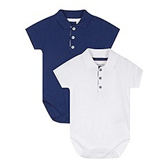 bluezoo - Pack of two babies white and navy polo bodysuits