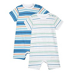 bluezoo - Pack of two babies pale grey and blue striped romper suits
