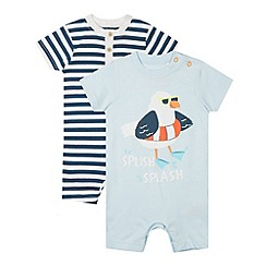 bluezoo - Pack of two babies navy striped and seagull printed romper suits