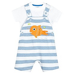 bluezoo - Babies blue fish striped bibshorts set